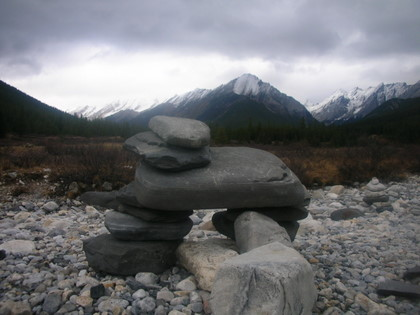a small Inuksuk or sometimes called Inukshuk in English