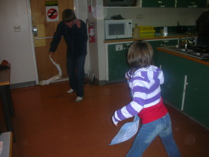 Kids having fun at the Canmore Hostel
