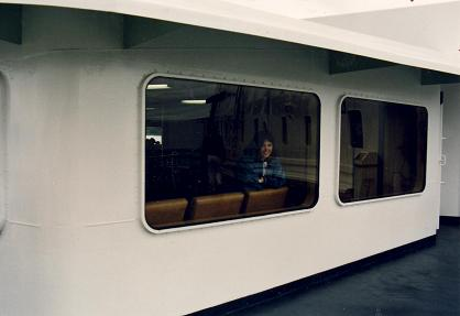 Tara looking through the B.C ferry.