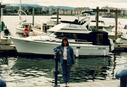 Tara standing in front of the port of Victoria