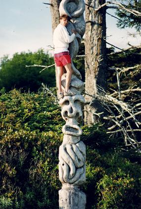 Climbing on a Totem in Florencia Bay