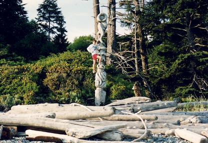 Totems are part of the Northwest scenery, possibly sculpted by hippies living on the beach