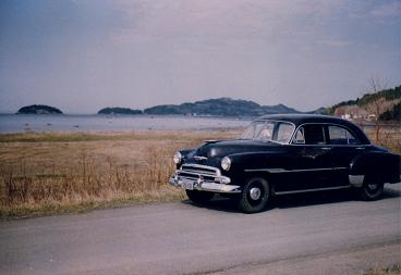 My Chevrolet in front of the Bic National Parc on the St-Lawrence river