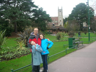 In the Lower Gardens Park with St-Andrew's Church (Landmarc Restaurant) in the background.