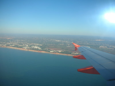 View of the Algarve coast from the plane