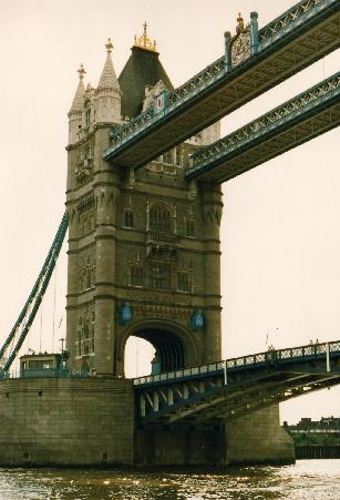 A close view of the Tower Bridge