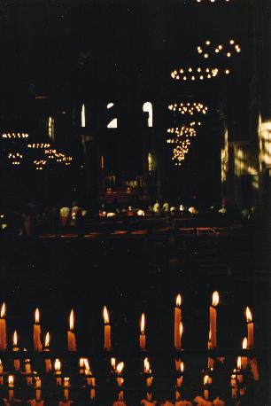 Candles burning in Saint-Paul's Cathedral in London