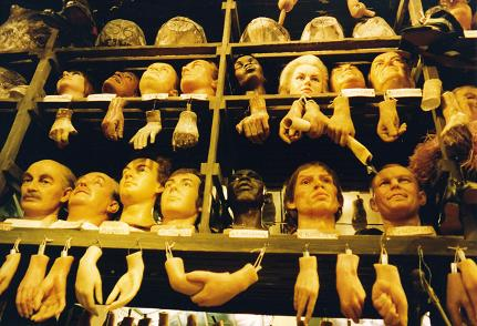 Pieces of hands, arms, legs and heads at Madame Tussault