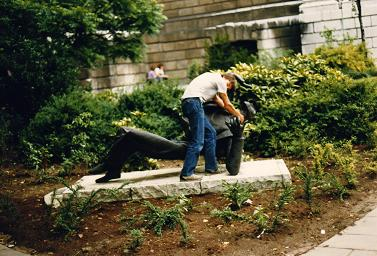 Myself, Fernando Candido, pretending to choke a statue