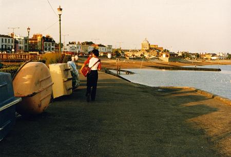 Dave Bodaly walking by the boats in Southend-on-Sea