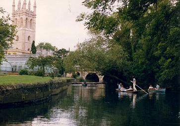 Canoeing on the river in Oxford surrounded by history