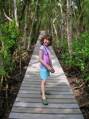 Isabelle on the hiking trail of Sandfly island
