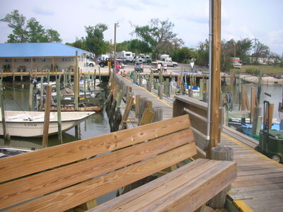 View of the campground Island Park and Marina from the fishing pier