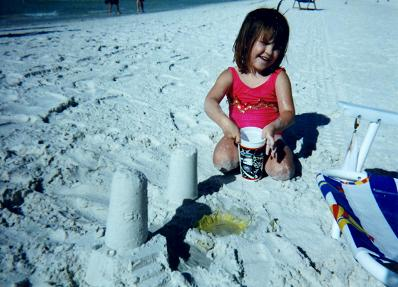 Nadia playing in the sand in Clearwater, Florida