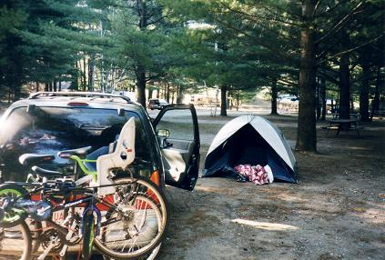Our camping site and our full van
