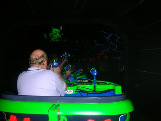 A man at the Buzz Lightyear Laser Blast in Disneyland Paris