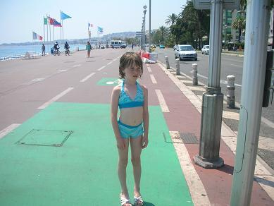 Isabelle on the Promenade des Anglais in Nice