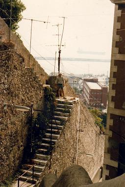 Standing on the Mediterranean steps in Gibraltar