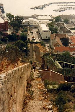 Steps and town of Gibraltar