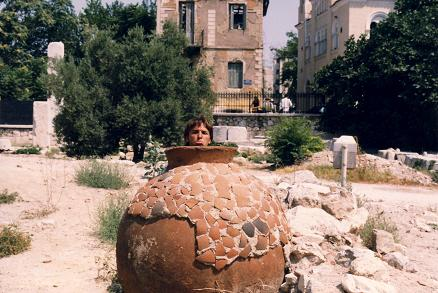 Inside a giant jar in Athens near the Acropolis