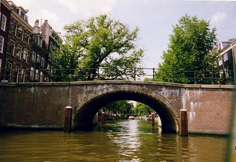 Typical canal bridge in Amsterdam