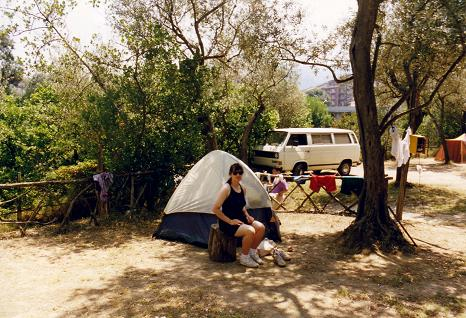 Tara in front of our tent at the trendy Nube d'Argento, Sorrento