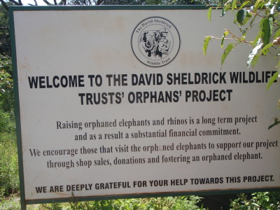 David Sheldrick Wildlife Trust's Orphan's Project sign