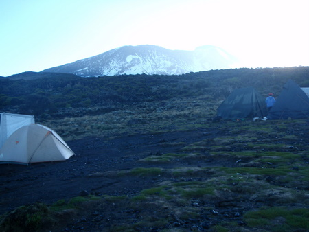 Baranco camp with Kilimanjaro behind