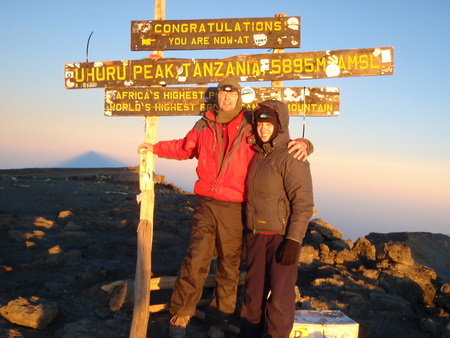 Tara and I, Fernando Candido on Uhuru Peak...emotional moment