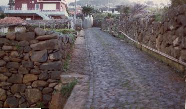 Houses and cobble stone roads in Madeira