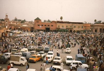 The exotic Place of Djemáa el Fna in Marrakech