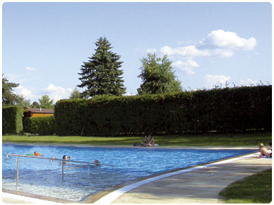 The refreshing pool at the Almtal Camp, in Pettenbach