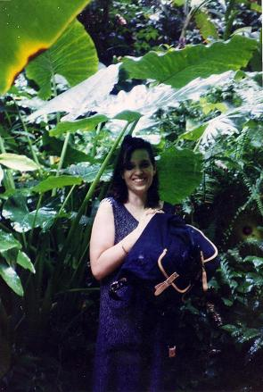 Tara under a huge fern, St-Lucia rainforest