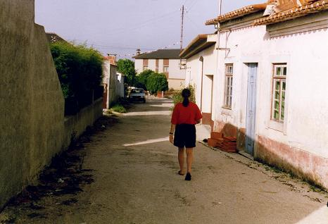 Tara walking in the village