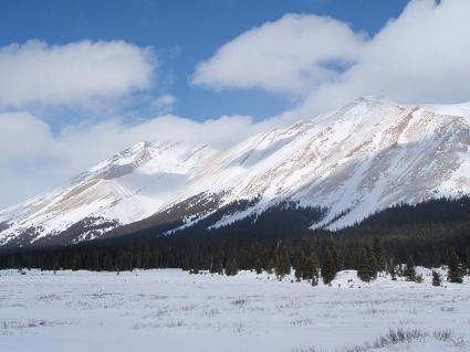 Mountains surrounding Red Deer Lakes